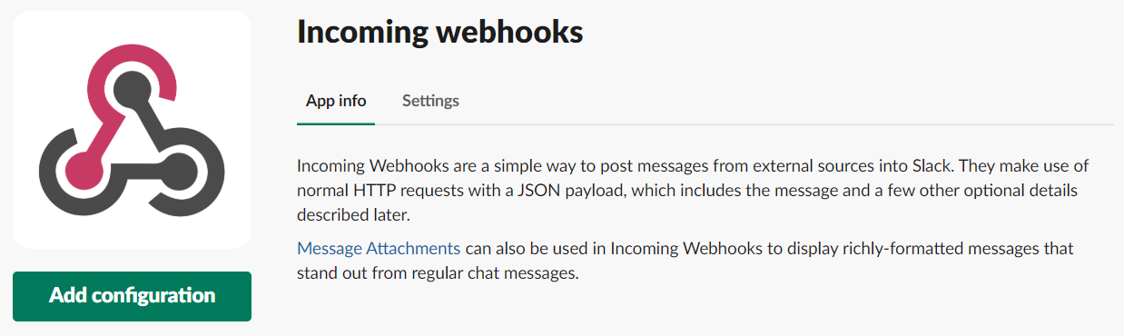 incoming Webhooks add configuration